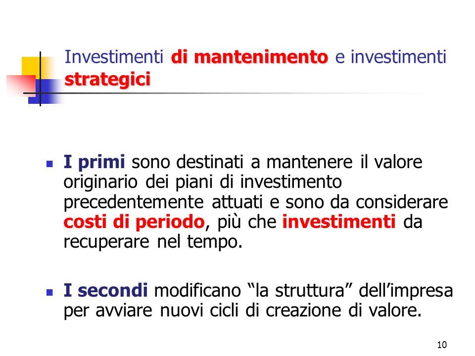 10 di mantenimento strategici Investimenti di mantenimento e investimenti strategici I primi sono destinati a mantenere il valore originario dei piani