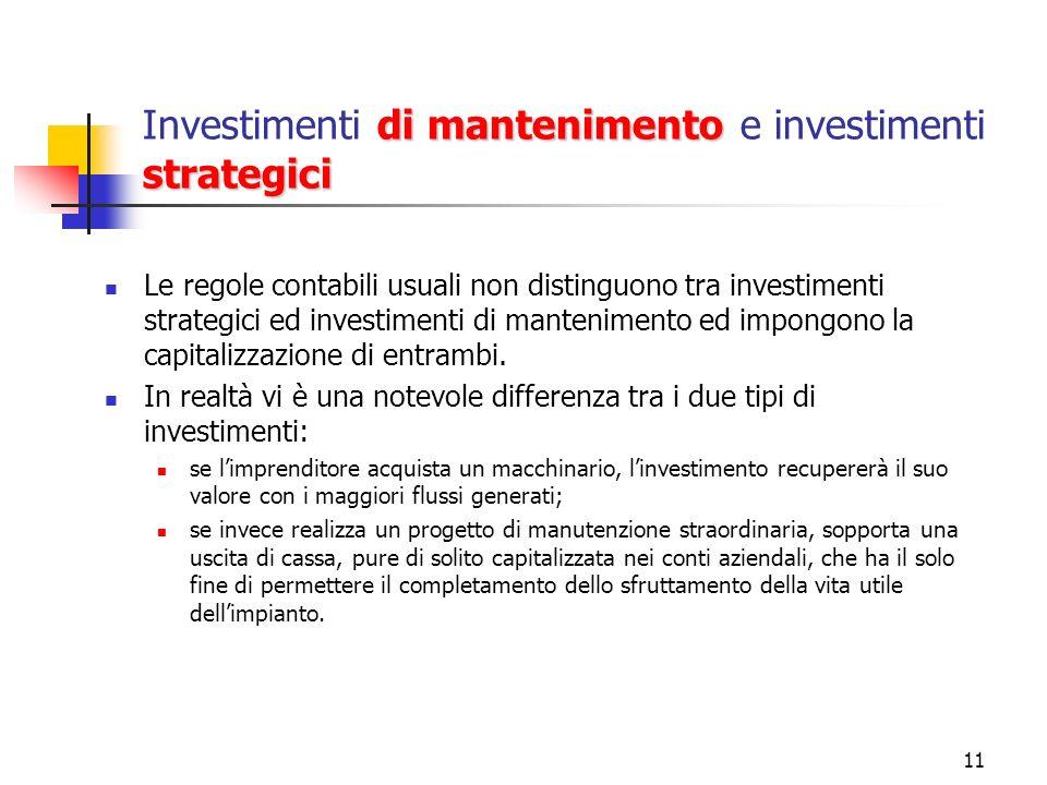 11 di mantenimento strategici Investimenti di mantenimento e investimenti strategici Le regole contabili usuali non distinguono tra investimenti strat