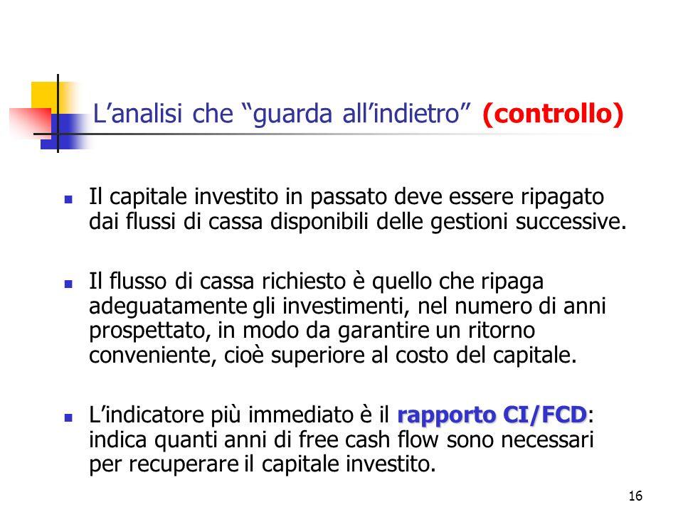 16 Lanalisi che guarda allindietro (controllo) Il capitale investito in passato deve essere ripagato dai flussi di cassa disponibili delle gestioni su