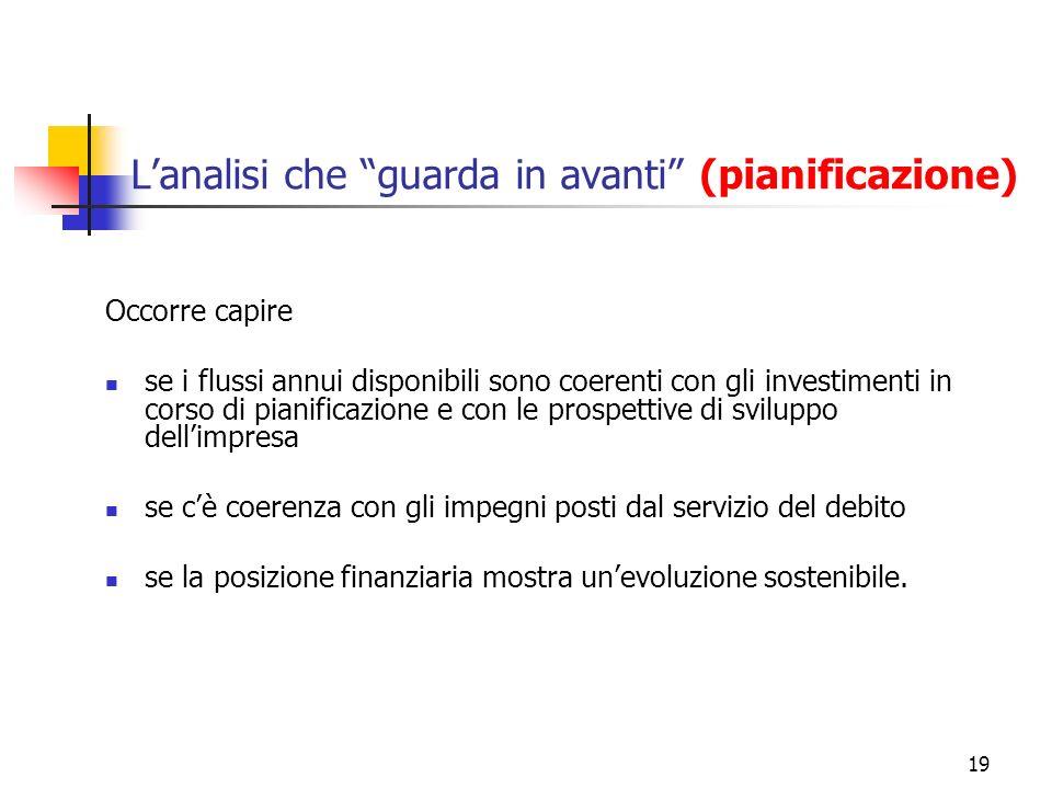 19 Lanalisi che guarda in avanti (pianificazione) Occorre capire se i flussi annui disponibili sono coerenti con gli investimenti in corso di pianific