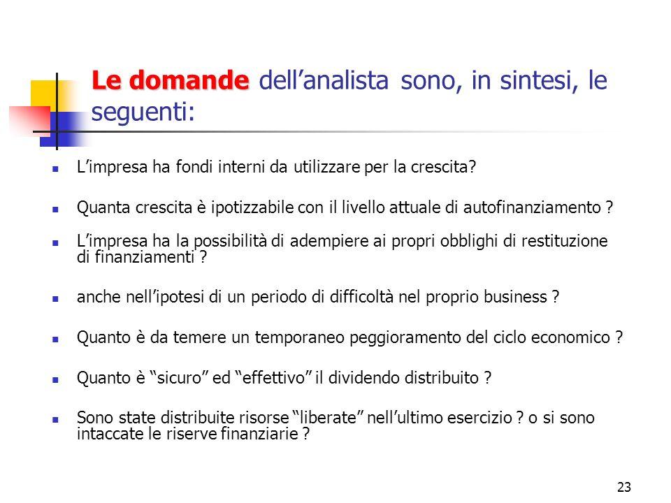 23 Le domande Le domande dellanalista sono, in sintesi, le seguenti: Limpresa ha fondi interni da utilizzare per la crescita? Quanta crescita è ipotiz