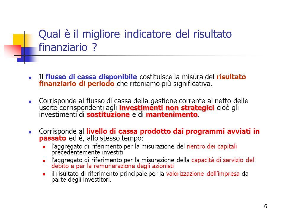 6 Qual è il migliore indicatore del risultato finanziario ? Il flusso di cassa disponibile costituisce la misura del risultato finanziario di periodo