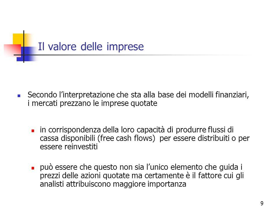 9 Il valore delle imprese Secondo linterpretazione che sta alla base dei modelli finanziari, i mercati prezzano le imprese quotate in corrispondenza d