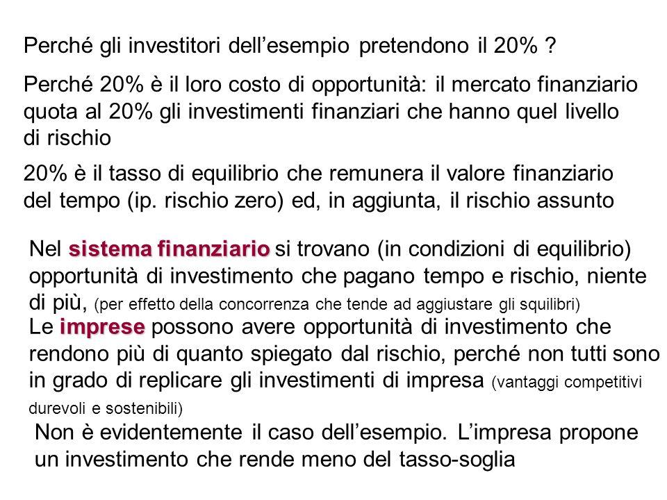 Perché gli investitori dellesempio pretendono il 20% ? Perché 20% è il loro costo di opportunità: il mercato finanziario quota al 20% gli investimenti