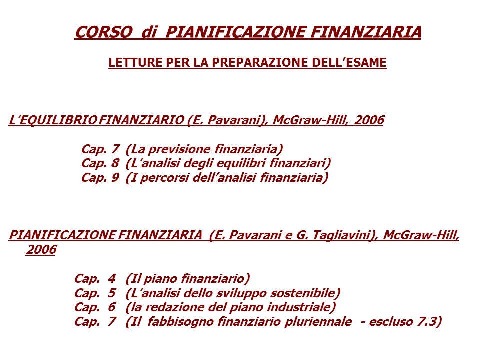 CORSO di PIANIFICAZIONE FINANZIARIA LETTURE PER LA PREPARAZIONE DELLESAME LEQUILIBRIO FINANZIARIO (E.