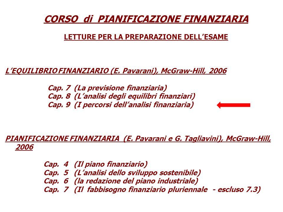 CORSO di PIANIFICAZIONE FINANZIARIA LETTURE PER LA PREPARAZIONE DELLESAME LEQUILIBRIO FINANZIARIO (E. Pavarani), McGraw-Hill, 2006 Cap. 7 (La previsio