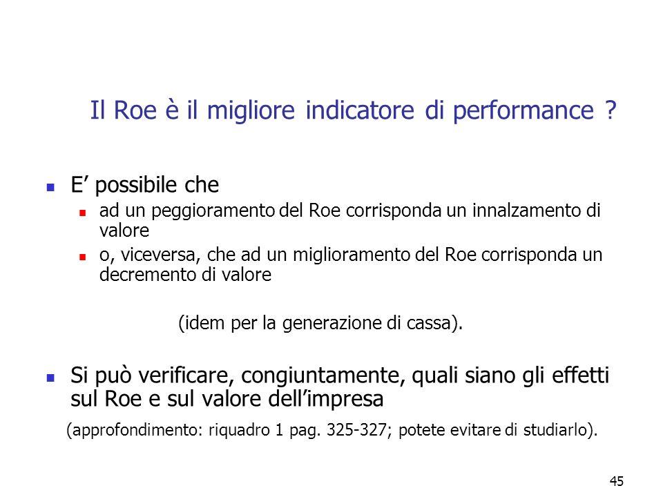 45 E possibile che ad un peggioramento del Roe corrisponda un innalzamento di valore o, viceversa, che ad un miglioramento del Roe corrisponda un decr