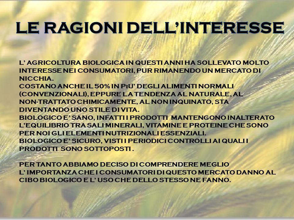 L AGRICOLTURA BIOLOGICA IN QUESTI ANNI HA SOLLEVATO MOLTO INTERESSE NEI CONSUMATORI, PUR RIMANENDO UN MERCATO DI NICCHIA.