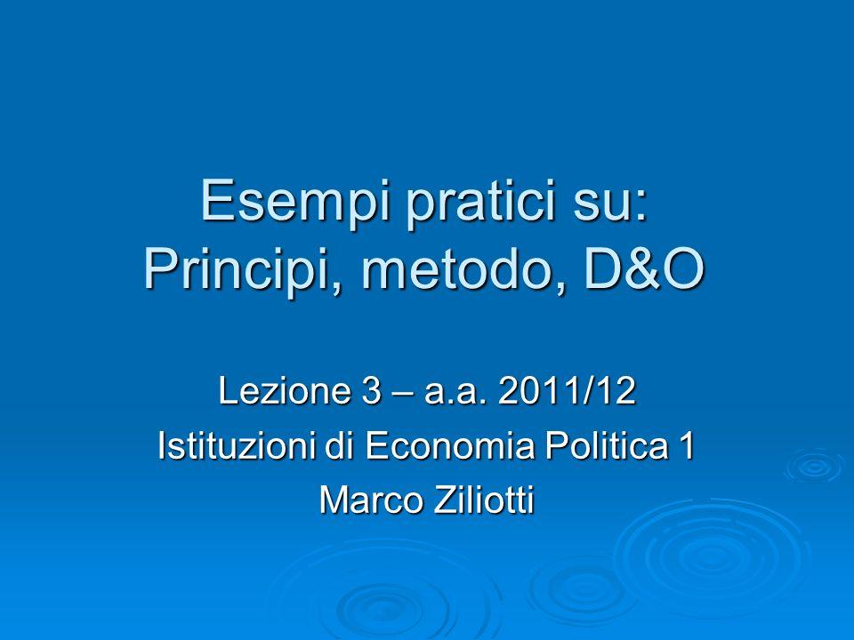 Esempi pratici su: Principi, metodo, D&O Lezione 3 – a.a.