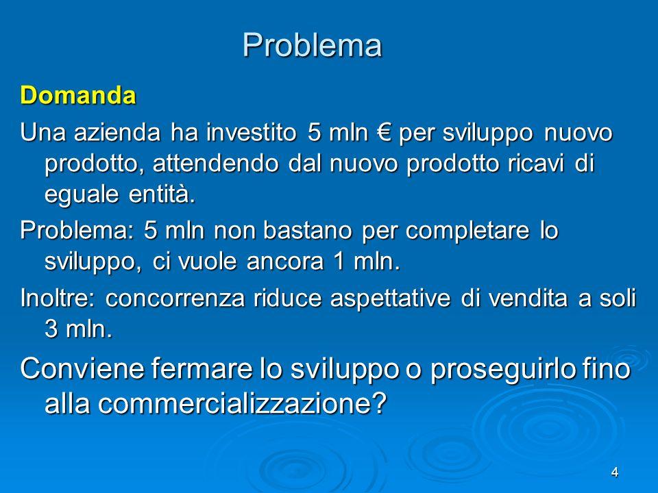 4 Problema Domanda Una azienda ha investito 5 mln per sviluppo nuovo prodotto, attendendo dal nuovo prodotto ricavi di eguale entità.