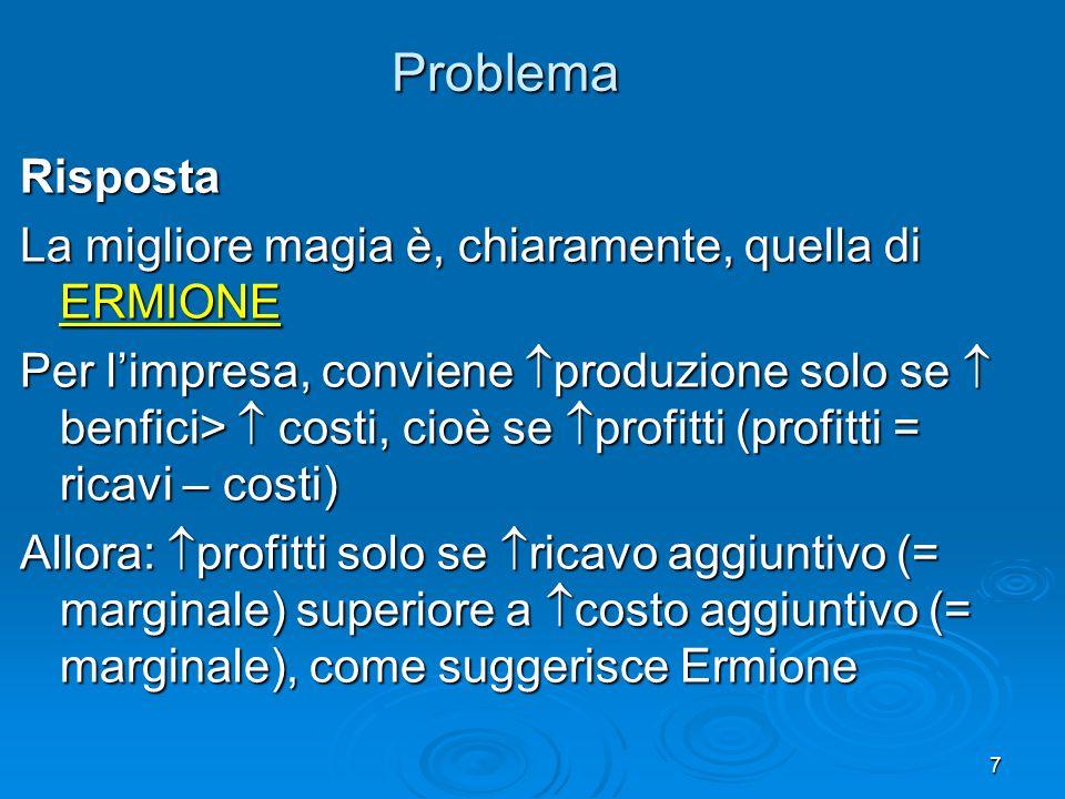 7 Problema Risposta La migliore magia è, chiaramente, quella di ERMIONE Per limpresa, conviene produzione solo se benfici> costi, cioè se profitti (profitti = ricavi – costi) Allora: profitti solo se ricavo aggiuntivo (= marginale) superiore a costo aggiuntivo (= marginale), come suggerisce Ermione