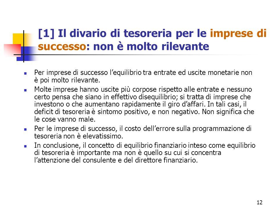 12 [1] Il divario di tesoreria per le imprese di successo: non è molto rilevante Per imprese di successo lequilibrio tra entrate ed uscite monetarie n