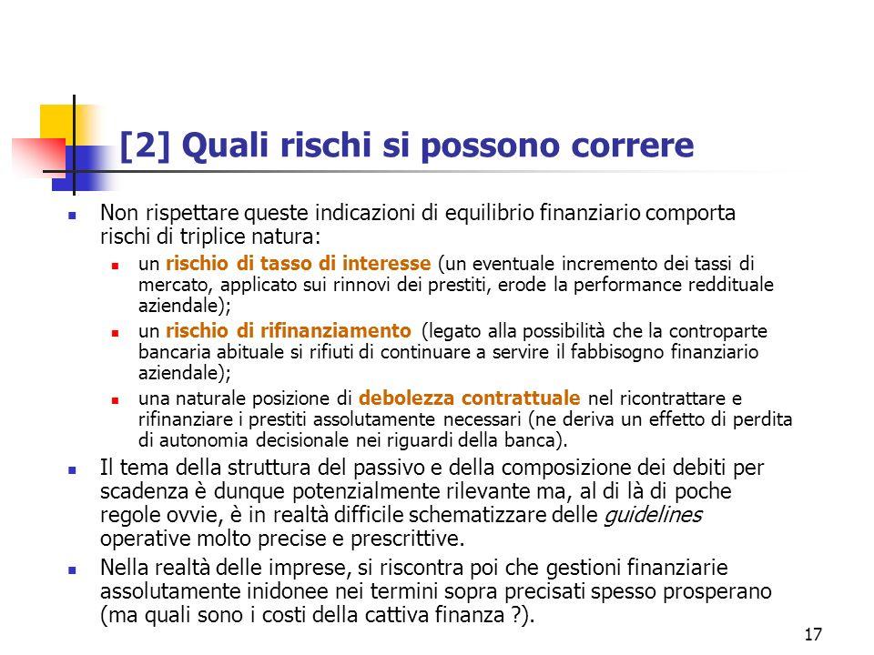 17 [2] Quali rischi si possono correre Non rispettare queste indicazioni di equilibrio finanziario comporta rischi di triplice natura: un rischio di t