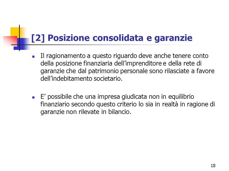 18 [2] Posizione consolidata e garanzie Il ragionamento a questo riguardo deve anche tenere conto della posizione finanziaria dellimprenditore e della