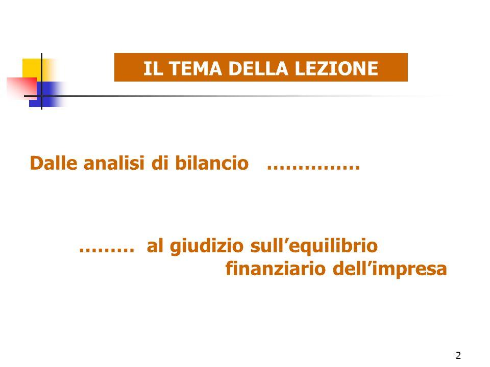 2 IL TEMA DELLA LEZIONE Dalle analisi di bilancio …………… ……… al giudizio sullequilibrio finanziario dellimpresa