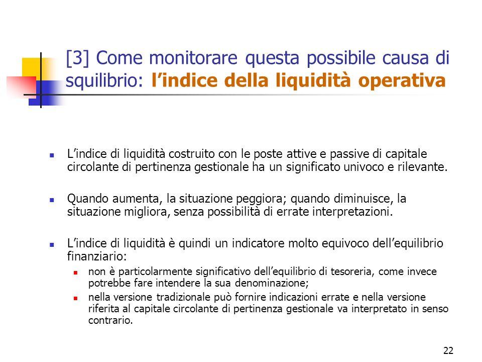 22 [3] Come monitorare questa possibile causa di squilibrio: lindice della liquidità operativa Lindice di liquidità costruito con le poste attive e pa