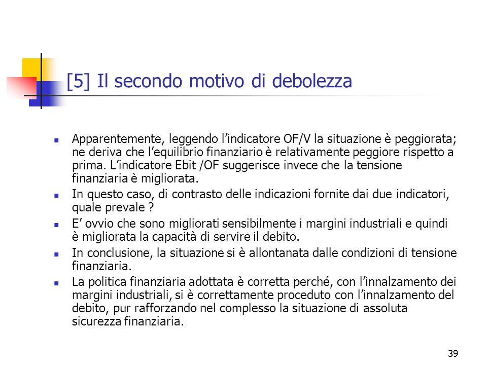 39 [5] Il secondo motivo di debolezza Apparentemente, leggendo lindicatore OF/V la situazione è peggiorata; ne deriva che lequilibrio finanziario è re
