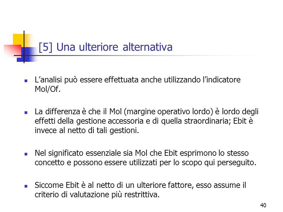 40 [5] Una ulteriore alternativa Lanalisi può essere effettuata anche utilizzando lindicatore Mol/Of. La differenza è che il Mol (margine operativo lo