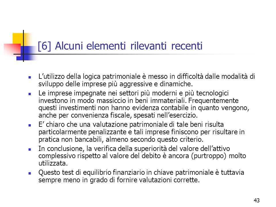 43 [6] Alcuni elementi rilevanti recenti Lutilizzo della logica patrimoniale è messo in difficoltà dalle modalità di sviluppo delle imprese più aggres