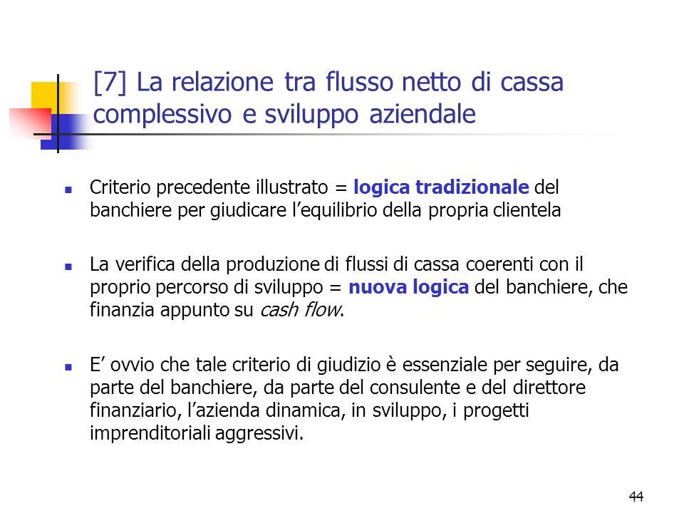 44 [7] La relazione tra flusso netto di cassa complessivo e sviluppo aziendale Criterio precedente illustrato = logica tradizionale del banchiere per