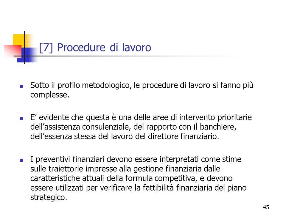 45 [7] Procedure di lavoro Sotto il profilo metodologico, le procedure di lavoro si fanno più complesse. E evidente che questa è una delle aree di int