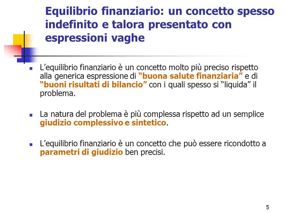 5 Equilibrio finanziario: un concetto spesso indefinito e talora presentato con espressioni vaghe Lequilibrio finanziario è un concetto molto più prec