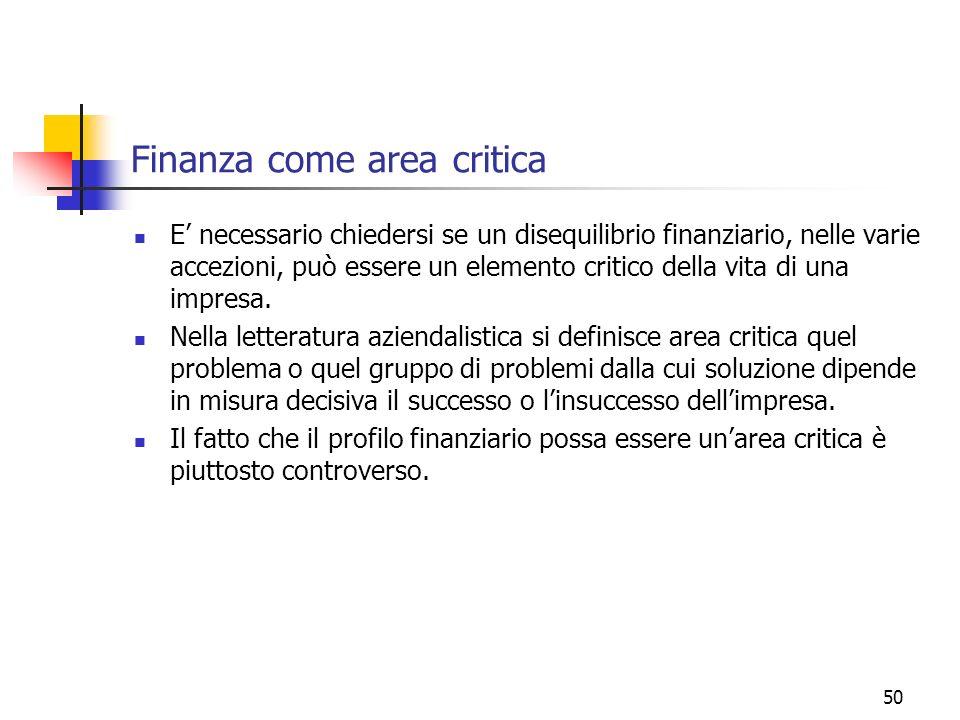 50 Finanza come area critica E necessario chiedersi se un disequilibrio finanziario, nelle varie accezioni, può essere un elemento critico della vita
