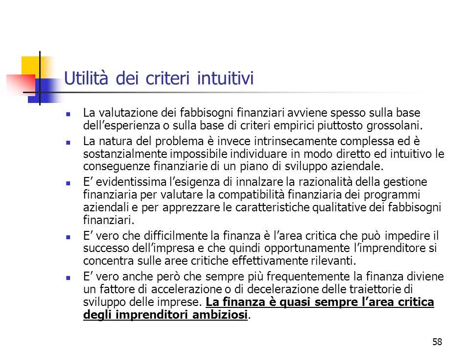 58 Utilità dei criteri intuitivi La valutazione dei fabbisogni finanziari avviene spesso sulla base dellesperienza o sulla base di criteri empirici pi