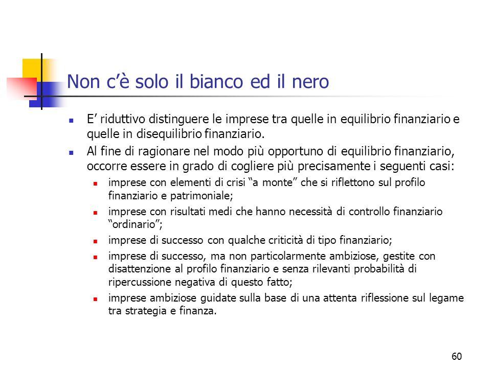 60 Non cè solo il bianco ed il nero E riduttivo distinguere le imprese tra quelle in equilibrio finanziario e quelle in disequilibrio finanziario. Al