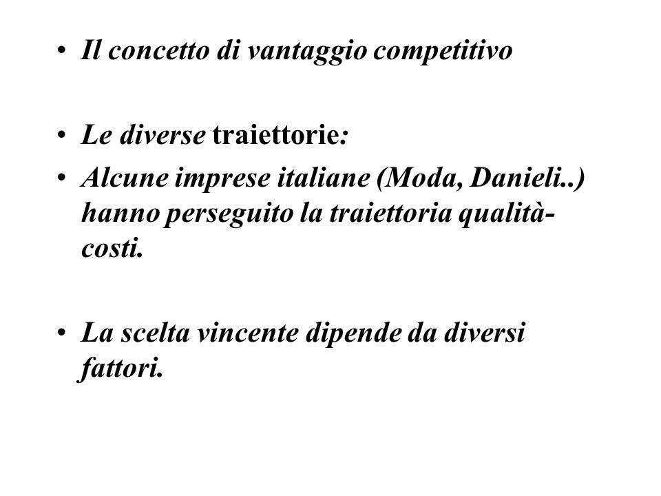 Il concetto di vantaggio competitivo Le diverse traiettorie: Alcune imprese italiane (Moda, Danieli..) hanno perseguito la traiettoria qualità- costi.