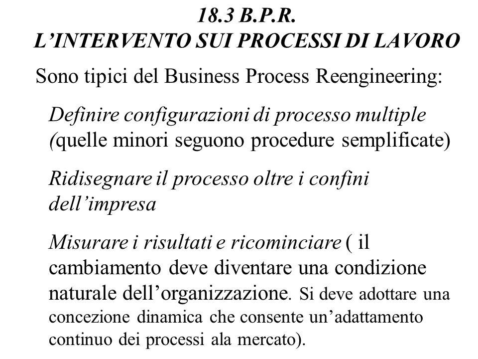 18.3 B.P.R. LINTERVENTO SUI PROCESSI DI LAVORO Sono tipici del Business Process Reengineering: Anticipare e parallelizzare Sincronizzare Adattare gli