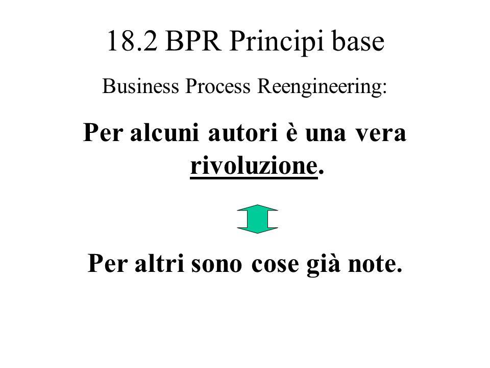 18.2 BPR Principi base Fasi fondamentali del Business Process Reengineering (segue) 5. Gruppi interfunzionali focalizzati e responsabilizzati 6. Inglo