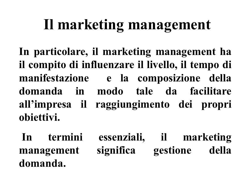 Il marketing management In particolare, il marketing management ha il compito di influenzare il livello, il tempo di manifestazione e la composizione della domanda in modo tale da facilitare allimpresa il raggiungimento dei propri obiettivi.