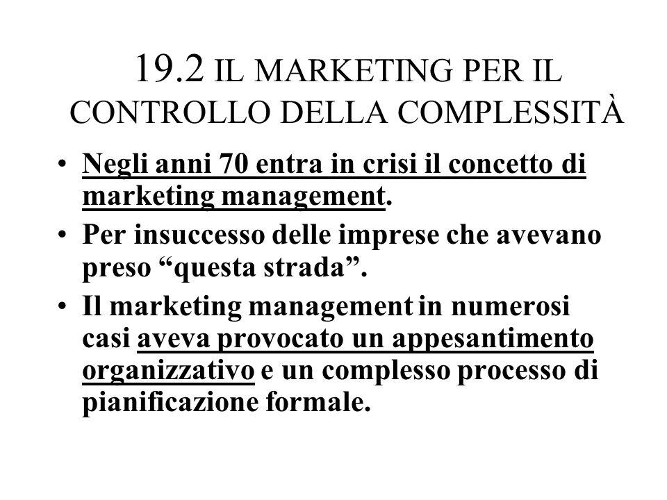 19.2 IL MARKETING PER IL CONTROLLO DELLA COMPLESSITÀ Negli anni 70 entra in crisi il concetto di marketing management.