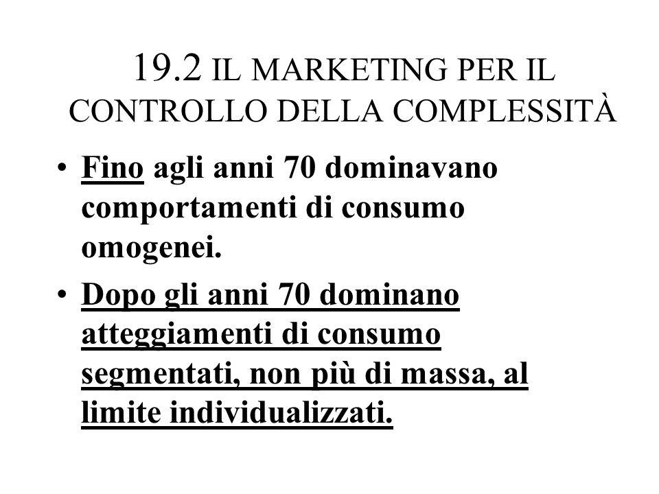19.2 IL MARKETING PER IL CONTROLLO DELLA COMPLESSITÀ Fino agli anni 70 dominavano comportamenti di consumo omogenei.