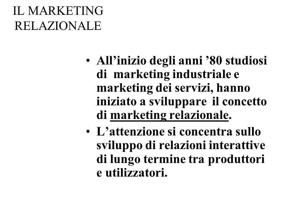 IL MARKETING RELAZIONALE Allinizio degli anni 80 studiosi di marketing industriale e marketing dei servizi, hanno iniziato a sviluppare il concetto di marketing relazionale.