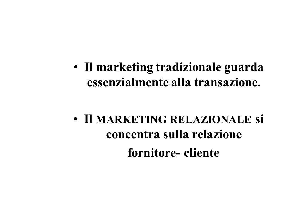 Il marketing tradizionale guarda essenzialmente alla transazione.