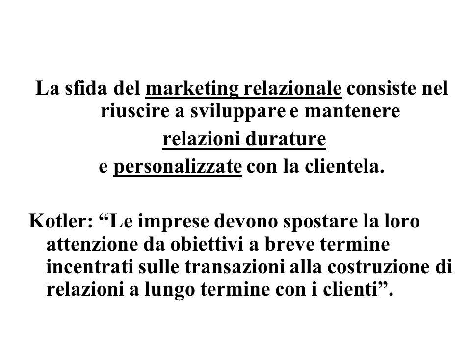 La sfida del marketing relazionale consiste nel riuscire a sviluppare e mantenere relazioni durature e personalizzate con la clientela.