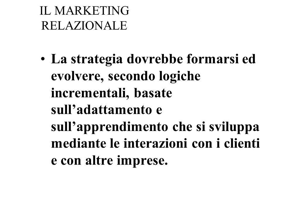 IL MARKETING RELAZIONALE La strategia dovrebbe formarsi ed evolvere, secondo logiche incrementali, basate sulladattamento e sullapprendimento che si sviluppa mediante le interazioni con i clienti e con altre imprese.