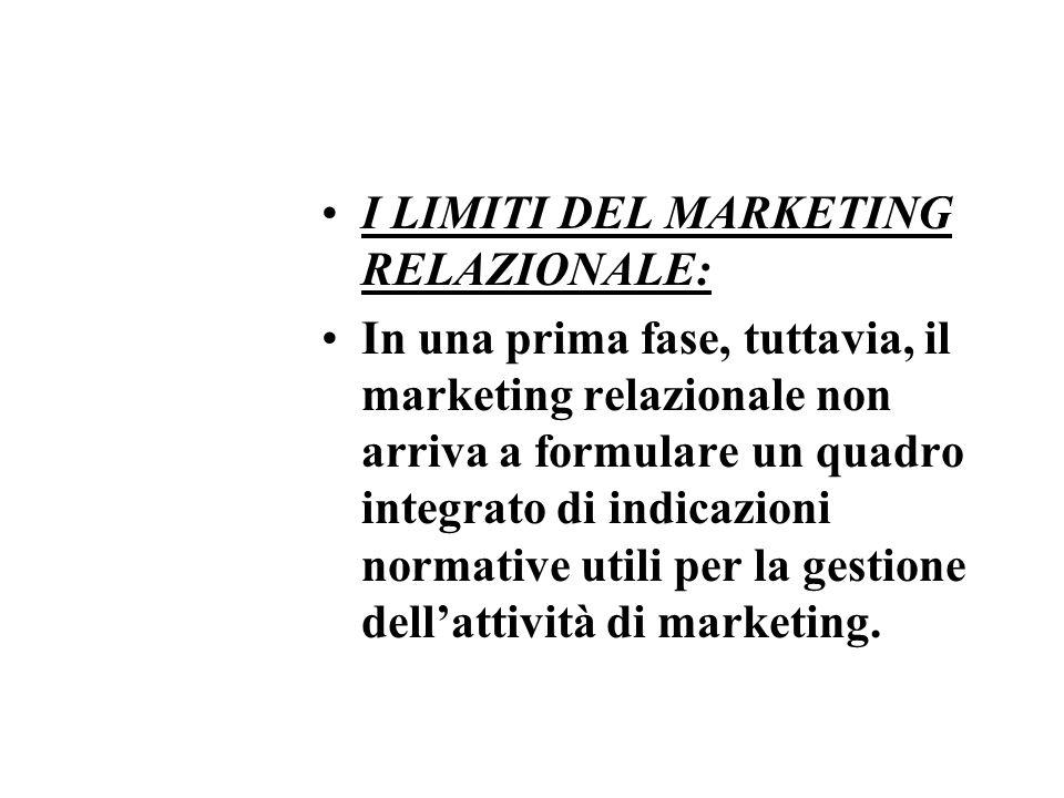 I LIMITI DEL MARKETING RELAZIONALE: In una prima fase, tuttavia, il marketing relazionale non arriva a formulare un quadro integrato di indicazioni normative utili per la gestione dellattività di marketing.