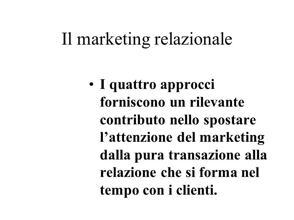I quattro approcci forniscono un rilevante contributo nello spostare lattenzione del marketing dalla pura transazione alla relazione che si forma nel tempo con i clienti.