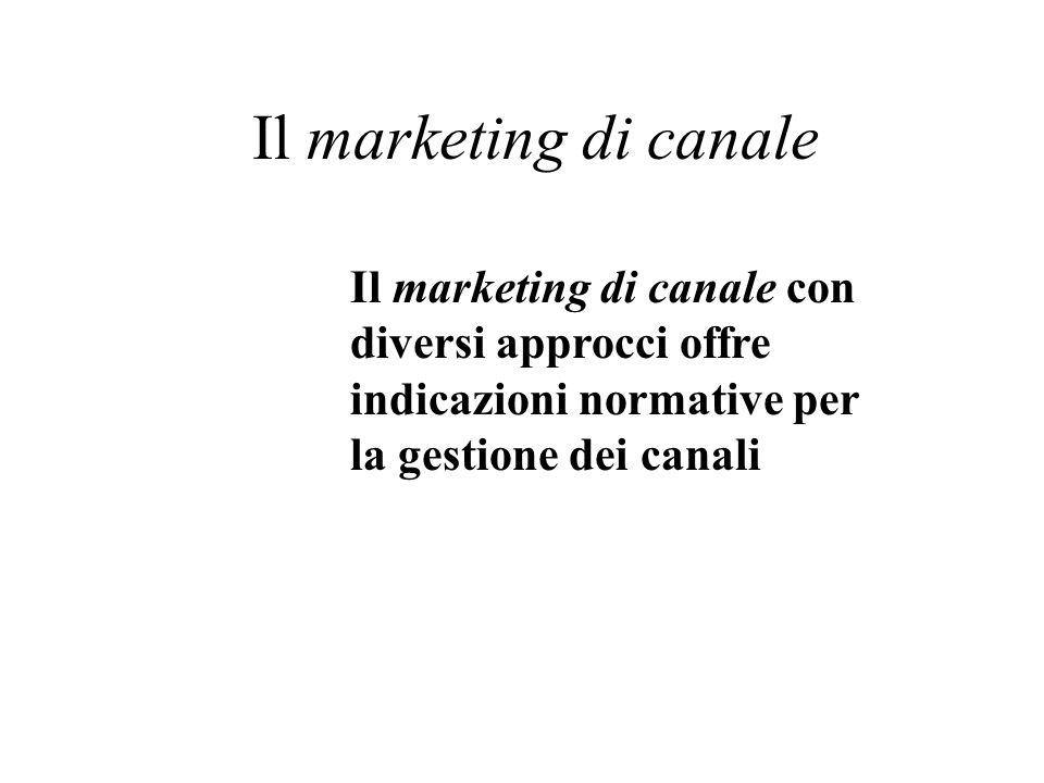 Il marketing di canale Il marketing di canale con diversi approcci offre indicazioni normative per la gestione dei canali