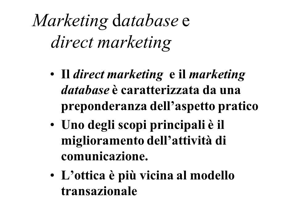 Marketing database e direct marketing Il direct marketing e il marketing database è caratterizzata da una preponderanza dellaspetto pratico Uno degli scopi principali è il miglioramento dellattività di comunicazione.