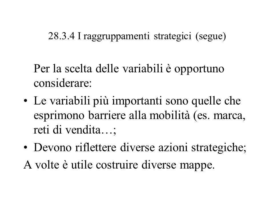28.3.4 I raggruppamenti strategici (segue) Per la scelta delle variabili è opportuno considerare: Le variabili più importanti sono quelle che esprimon