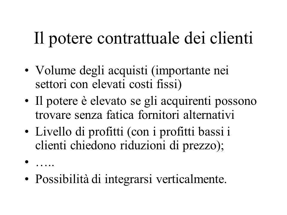 Il potere contrattuale dei clienti Volume degli acquisti (importante nei settori con elevati costi fissi) Il potere è elevato se gli acquirenti posson