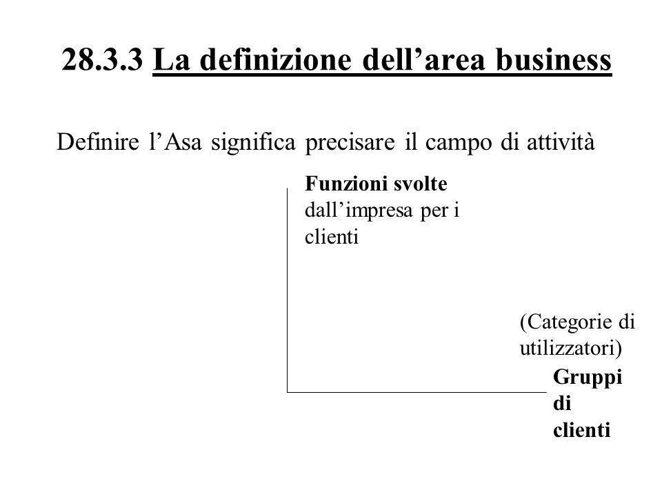 28.3.3 La definizione dellarea business Definire lAsa significa precisare il campo di attività Funzioni svolte dallimpresa per i clienti (Categorie di