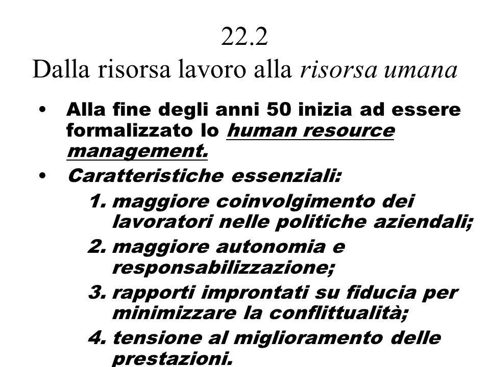 22.2 Dalla risorsa lavoro alla risorsa umana Alla fine degli anni 50 inizia ad essere formalizzato lo human resource management.