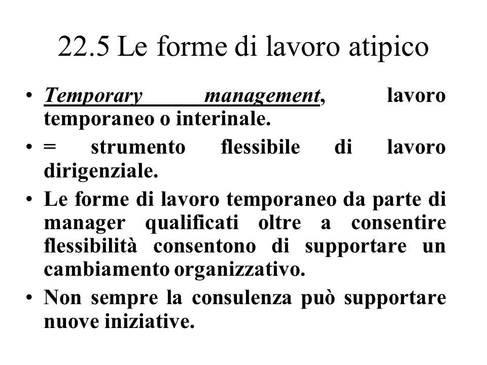 22.5 Le forme di lavoro atipico Temporary management, lavoro temporaneo o interinale.