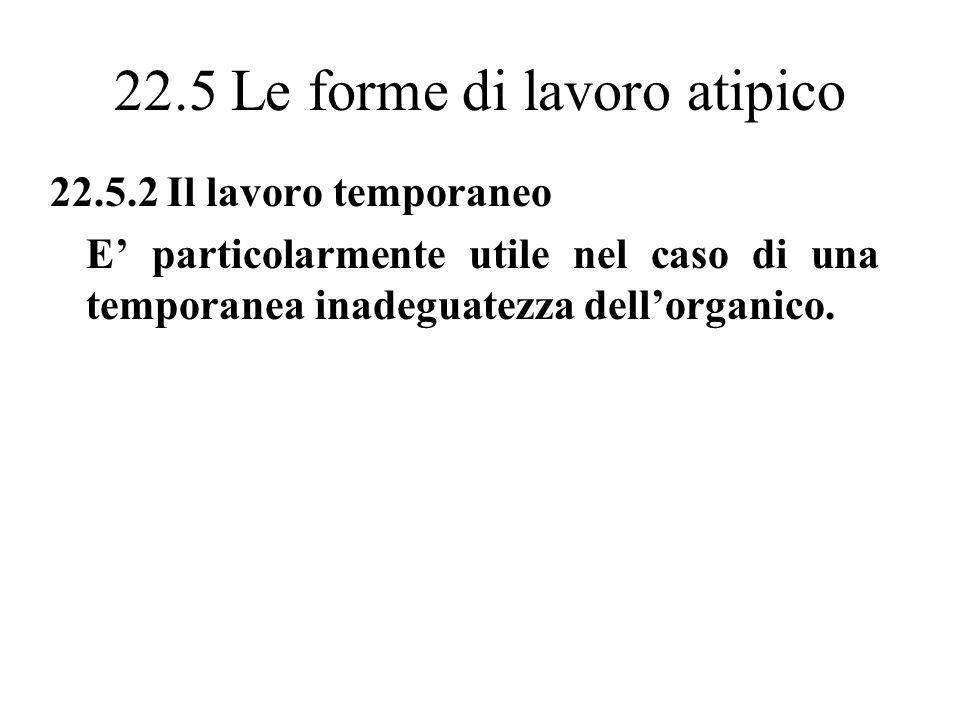 22.5 Le forme di lavoro atipico 22.5.2 Il lavoro temporaneo E particolarmente utile nel caso di una temporanea inadeguatezza dellorganico.