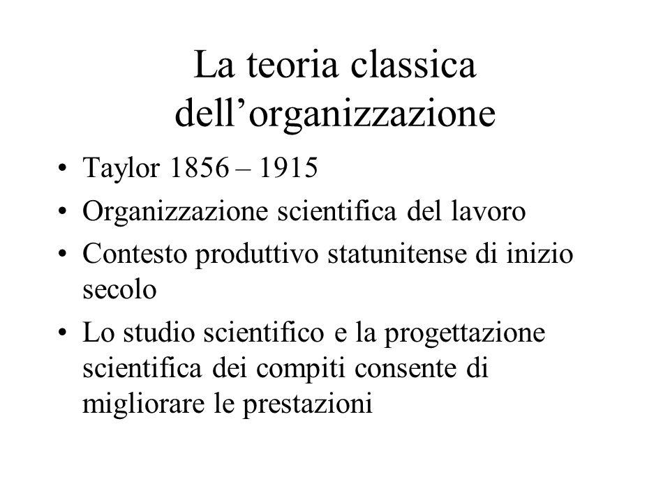 La teoria classica dellorganizzazione Taylor 1856 – 1915 Organizzazione scientifica del lavoro Contesto produttivo statunitense di inizio secolo Lo studio scientifico e la progettazione scientifica dei compiti consente di migliorare le prestazioni